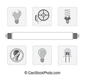 light sources. a set of seven vector icons