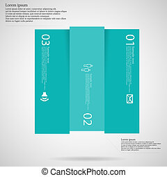 Light square template infographic vertically divided to three blue parts