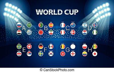 Light stadium mast vector illustration. World cup groups layout