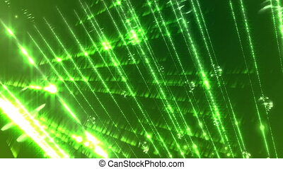"""Light streaks on a green background."""