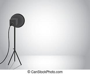 Empty studio with professional light
