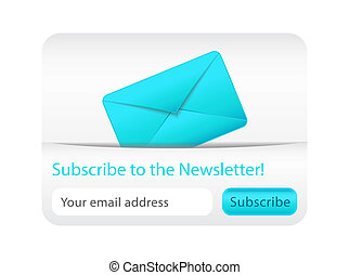 Light, subcribe to newsletter website element with blue envelope
