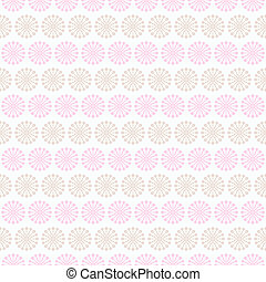 Light summer vector seamless pattern (tiling). Fond pink, white and brown colors. Endless texture can be used for printing onto fabric and paper or invitation. Floral, curl and dot shapes.