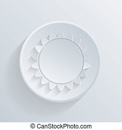 sun circle icon in the style of paper with shadow