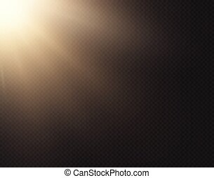 Light sun vector effect isolated on transparent background. Yellow golden warm bright shine texture, sun rays, beams. Sunshine design. Sunrise burst. Side view
