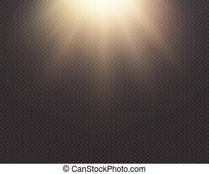 Light sun vector effect isolated on transparent background. Yellow golden warm bright shine texture, sun rays, beams. Sunshine design. Sunrise burst. Top view