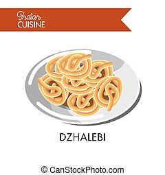 Light sweet dzhalebi on shiny plate isolated illustration