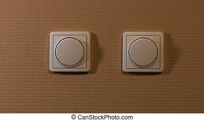 Light switch on and off - Light switch turned on and off