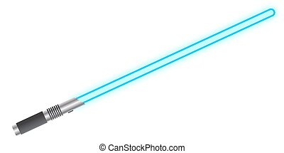 Light Sword Blue - A light beam sword isolated on a white...