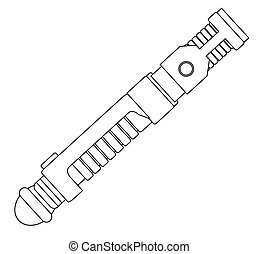A sci-fi light sword weapon line drawing isolated on a white background