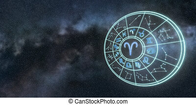 Light symbols of zodiac and horoscope circle, Aries Zodiac Sign