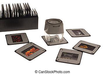 slides - light table with slides close up