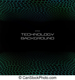 Light technology in pentagon pattern perspective background.
