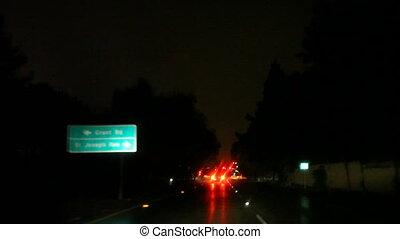 light traffic in rain
