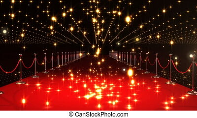 Animation of multiple glowing spots and shooting star over red carpet venue in the background. New Years Eve celebrations concept digitally generated image.