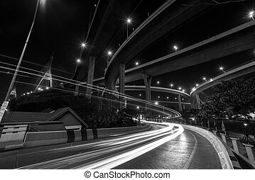 Light trail at Bhumibol Bridge in Bangkok