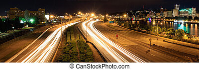 Light Trails and Portland City Skyline at Night - Light...