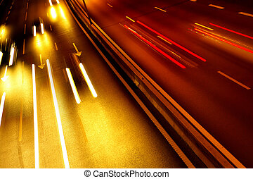 Light Trails - High traffic road with automobile light ...