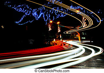 Light trails in Caterham On The Hill