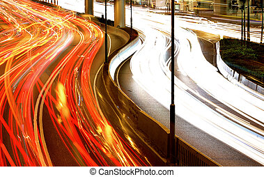 light trails in city