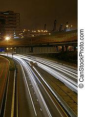 Light trails in Hong Kong at night