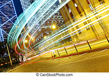 light trails in modern city
