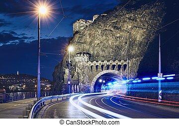Light trails of ambulance car