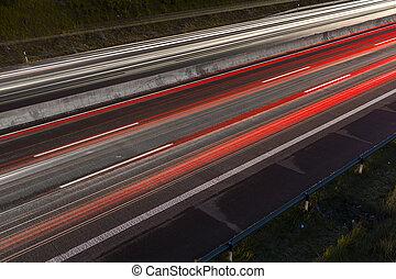 light trails on a freeway at night