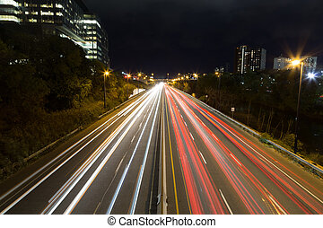 Light trails on a highway