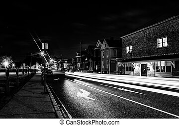 Light trails on a street at night in Hanover, Pennsylvania.