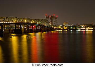 Light Trails on Columbia River Crossing I-5 Interstate Bridge at Night