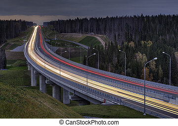 Light trails on four lane highway, crosses the night forest....