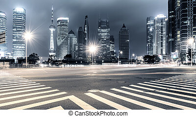 light trails on shanghai - The light trails on the modern ...