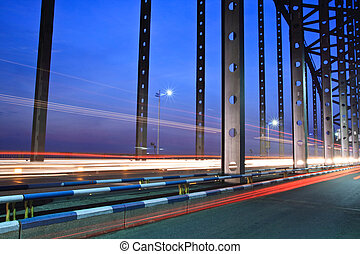 light trails on the busy bridge