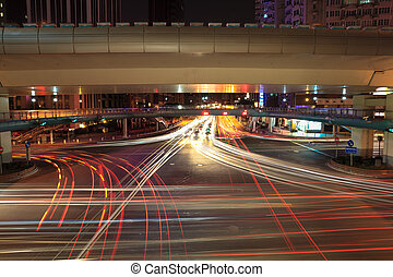 light trails on the crossroads