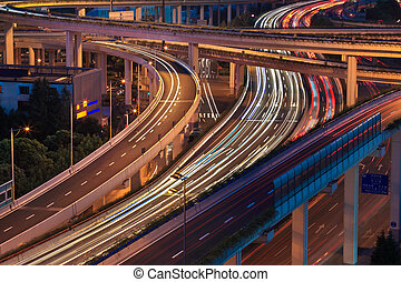 light trails on the elevated road