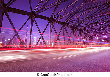 light trails on the garden bridge