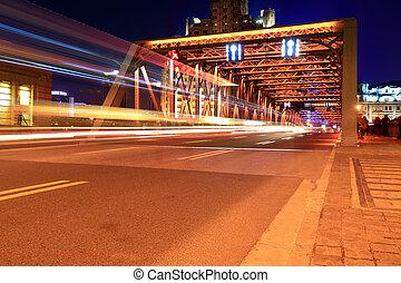 light trails on the garden bridge in shanghai