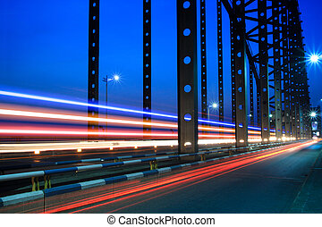 light trails on the steel bridge