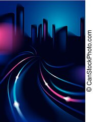 Light trails on the street of big city in the night. Effect vector beautiful background. Blur colorful dark background with cityscape, buildings silhouettes skyline.