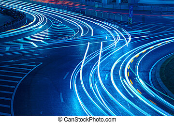 light trails on the urban road