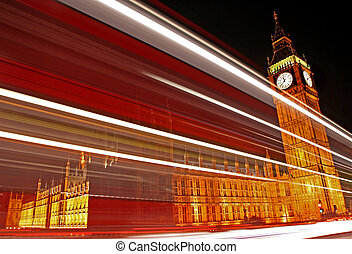 Light Trails Passing the Houses of Parliament. - The light...