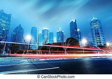 Light trails - light trails on the street in shanghai...