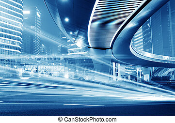 light trails - High-speed vehicles bright light trails on...
