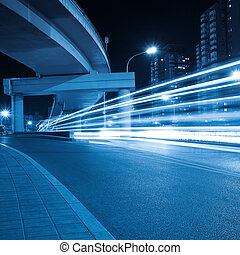 light trails under the viaduct - light trails through the...