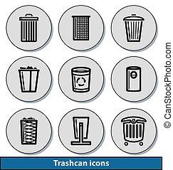 Light trashcan icons