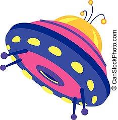 Light ufo icon, cartoon style