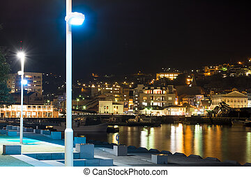 Light up of wharf and buildings in Nagasaki at night