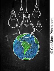 Light up the world sketch blackboard