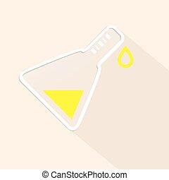 Light Vector Science Symbol - Test Tube Illustration with Green Liquid